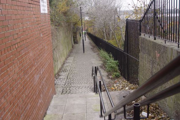 Down the Dockers' Steps is the River Mersey.