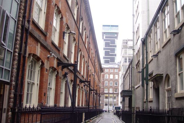 Ormond Street, next to the Cotton Exchane, much as in '73. Except for that looming tower at the end.