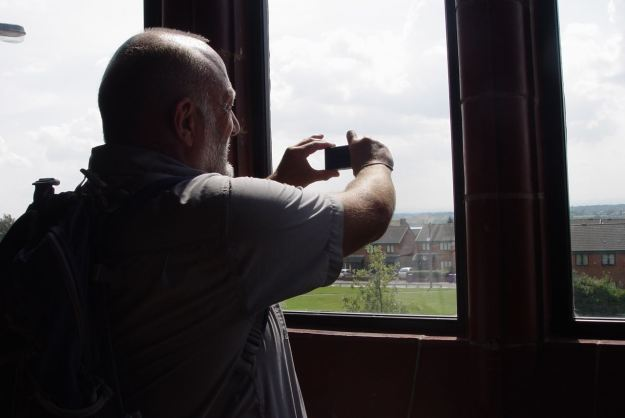 Stephen Roberts, photographing Wirral from Liverpool. At The Florrie in the Dingle.