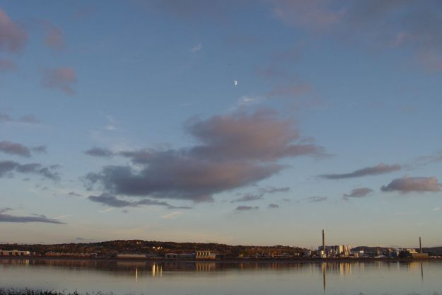 Looking across at Rock Savage. A chemical works, looking as peaceful in the fading light as a Hebridean Distillery.