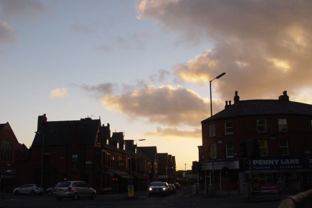 Penny Lane in the setting sun.