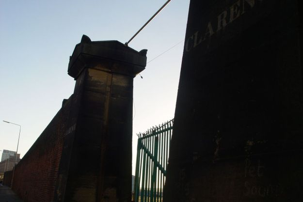 The Clarence Dock gates.