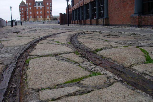Rails of the dockyard railway at Brunswick.