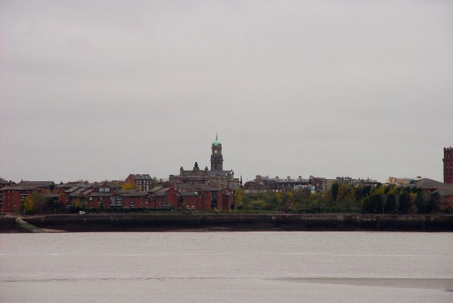 Over the water is Hamilton Square, Birkenhead Town Hall.