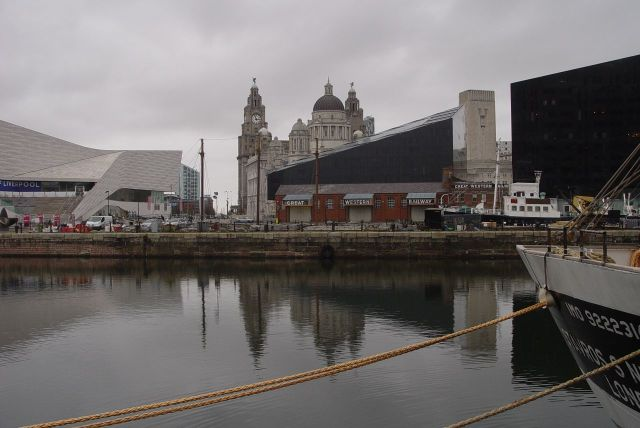 Cold now, with evening coming on, I decide to go into the café at the Museum of Liverpool.