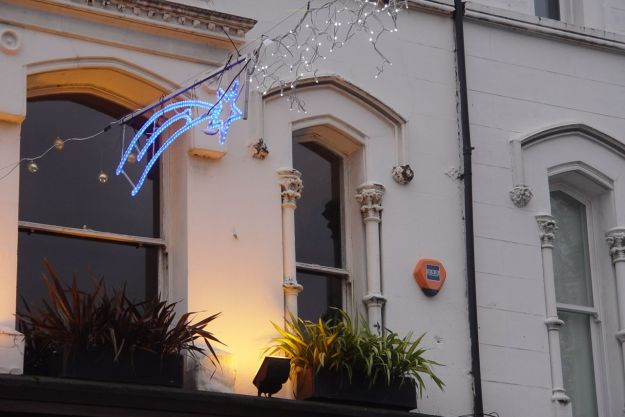 Putting up the new Lark Lane Christmas lights. Just look at that, all working!