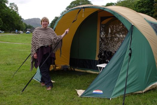 Sarah with the tent, by Coniston Water.
