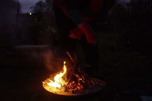 A peaceful fire at the end of a very full day's explorations.