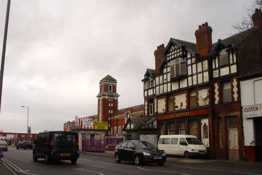 The closed Stanley pub, next to the Stanley Abattoir.