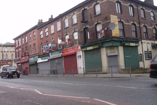 Past empty shops.