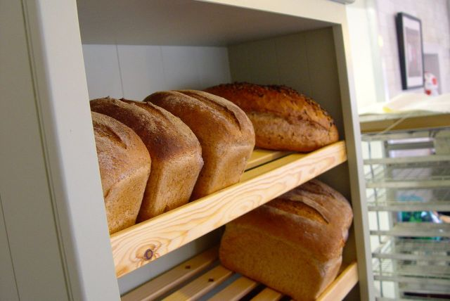 And shows us the new bread display shelves they've just made this week.