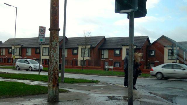 Past where the Storrington Heys high rise blocks used to be.