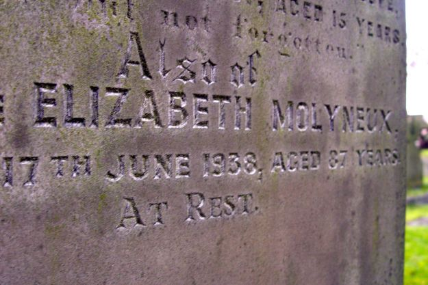 And in the church yard, a Molyneux from nearby Croxteth Hall?