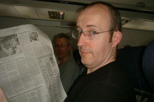 On the plane to Portland. Jeremy Nicholls and Liam Black. It's their idea.