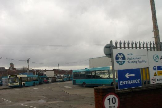 The into Green Lane past the main bus depot.