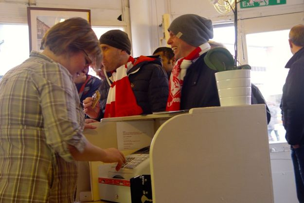 As kick off time approaches the shop is heaving with hungry fans queuing out the door.