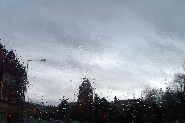 Raining hard on the darkling day. And it still isn't 2:00 in the afternoon.