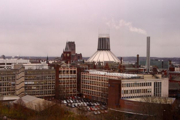 The view from Ward 7Y. Both cathedrals and the tower of the Victoria Building, Liverpool University.