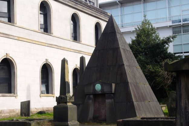 Around in Rodney Street, the tomb of William Mackenzie, Victorian civil engineer and gambler. Urban myth says he was buried sitting up at a card table, yeah.