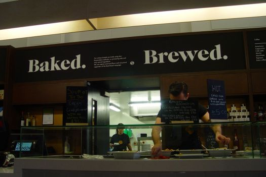 In truth we're picking which baked and made on the premises bread, soup and salads we'll have for our lunch.