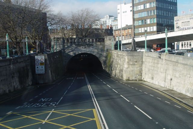 As we enter the Mersey Tunnel.