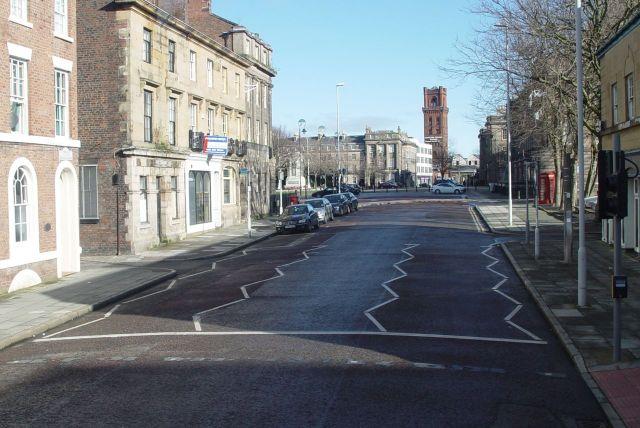 Emerging in Birkenhead, passing Hamilton Square.