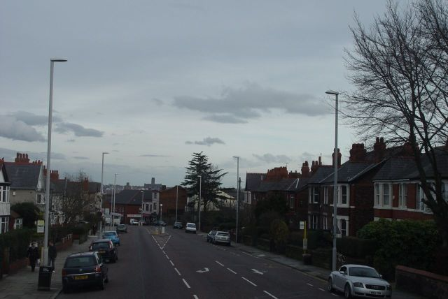 Down the hill into Claughton, with Liverpool Cathedral across the river.