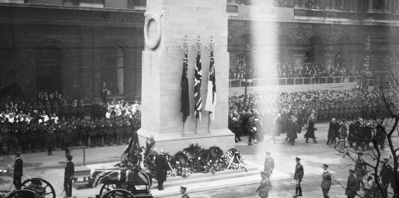 November 11th 1920. The Cenotaph and the coffin of the Unknown Soldier.