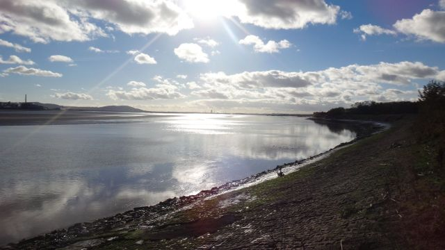 The River Mersey in the evening, walking back from Widnes.