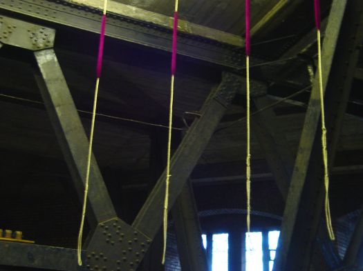 Beneath the Bell Chamber. Despite their size and weight, the bells are pulled like any other church bells.