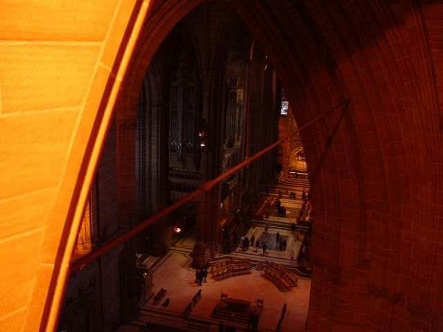 Looking down into the Cathedral from far above.
