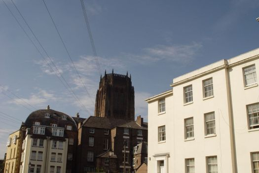 The Cathedral and Gambier Terrace from Huskisson Street.