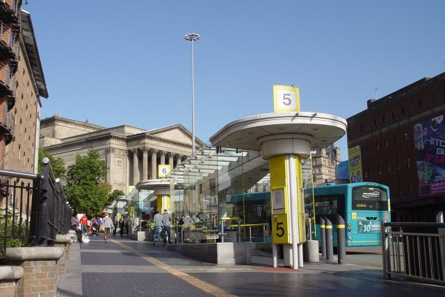 St George's Hall and the buses to the north of the city.