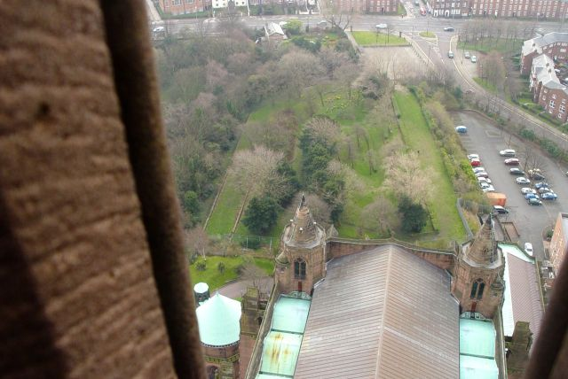 The Cathedral roof and the southern end of St James Gardens.