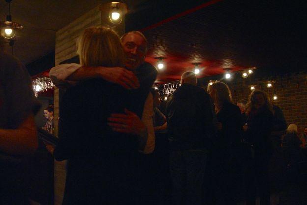 'We did it!' Thomas Lang, food, congratulates Deborah Aydon, in charge.