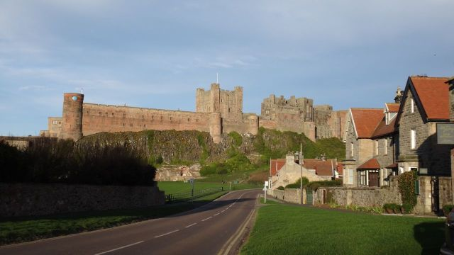 Bamburgh Castle from the village.