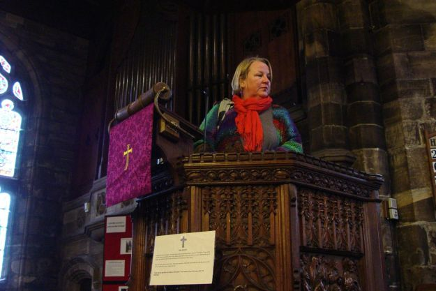 Sarah tries out the pulpit, but no sermon follows.
