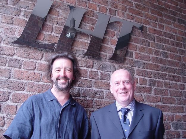 Outside LHT in 2005 with Tom Dacey, a friend from the early days of LHT, now Chief Executive of Southern Housing Group.