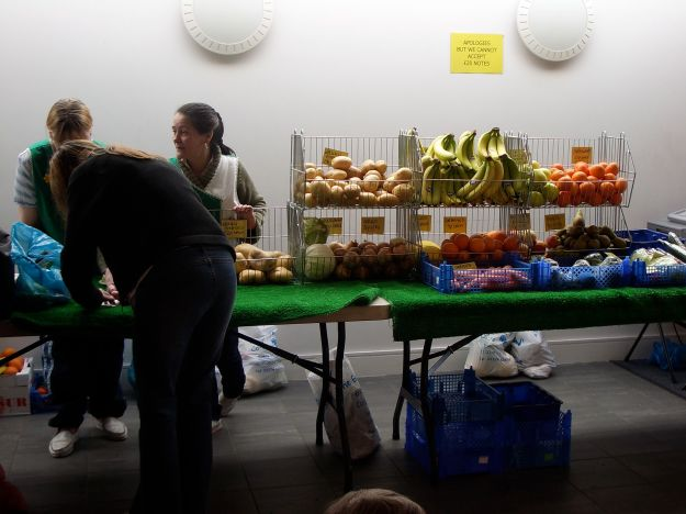 Gwen Davidson from the Gateway Board, running their fruit and veg market.