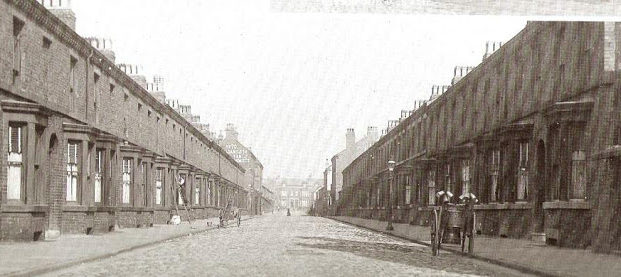 Into Roseberry Street. One of the long original streets of Granby.