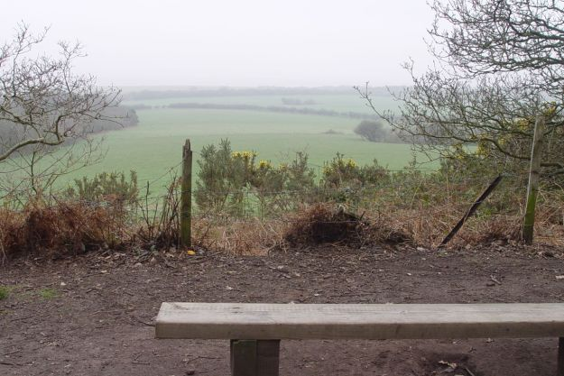Pausing briefly at the bench to look out over the Shining Shore. Still lost in the mist.