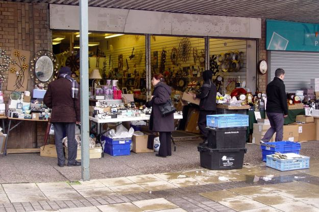 Selling all sorts. And making good 'meanwhile' use of the emptied out shops here.