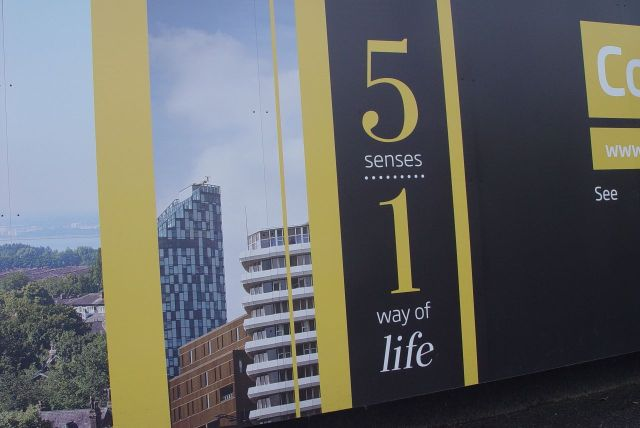 Even the developer's advert on the tower block seems to be celebrating spring.