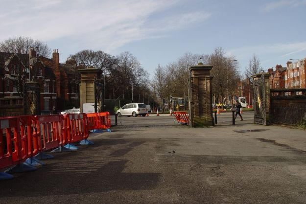At Princes Park gates there are roadworks happening.