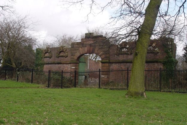 In the park is what looks like the remains of a coach house, built by the mansion's final owners, the Heywood family.