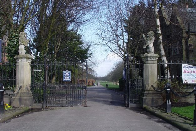 One of the gateways to Croxteth Hall is here in the centre of the village, next to St Mary's church.