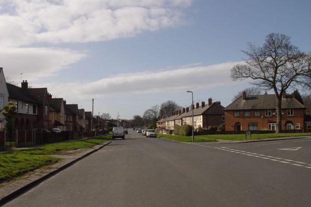 Just around the corner from this pleasant suburban avenue.