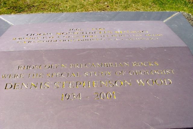 Memorial stone for one of the areas many geologists working in a surprisingly controversial field.