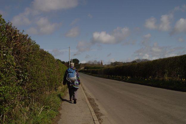 Along the long straight road to Thurstaston village.
