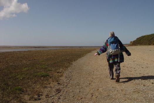 So we walk on. Sarah flying through the wind.
